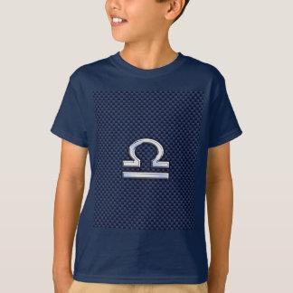 Modern Libra Sign on Navy Blue Carbon Fiber T-Shirt
