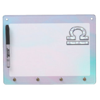 Modern Libra Zodiac Sign Mother of Pearl Style Dry Erase Board With Keychain Holder
