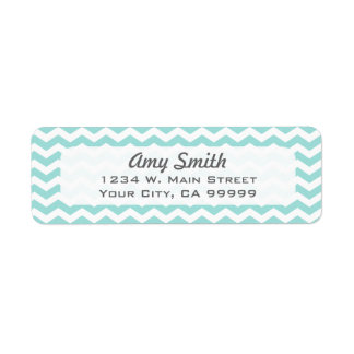 Modern Light Aqua Chevron Address Lables Label