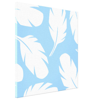 Modern Light Blue And White Abstract Bird Feathers Canvas Print