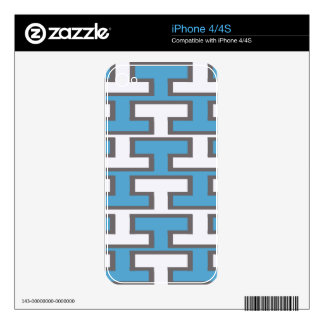 Modern Light Blue and White Bricks Decal For The iPhone 4S