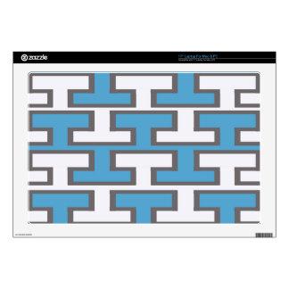 Modern Light Blue and White Bricks Laptop Decal