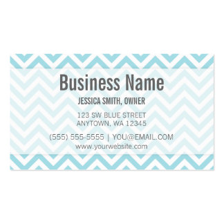 Modern Light Blue and White Chevron Pattern Double-Sided Standard Business Cards (Pack Of 100)