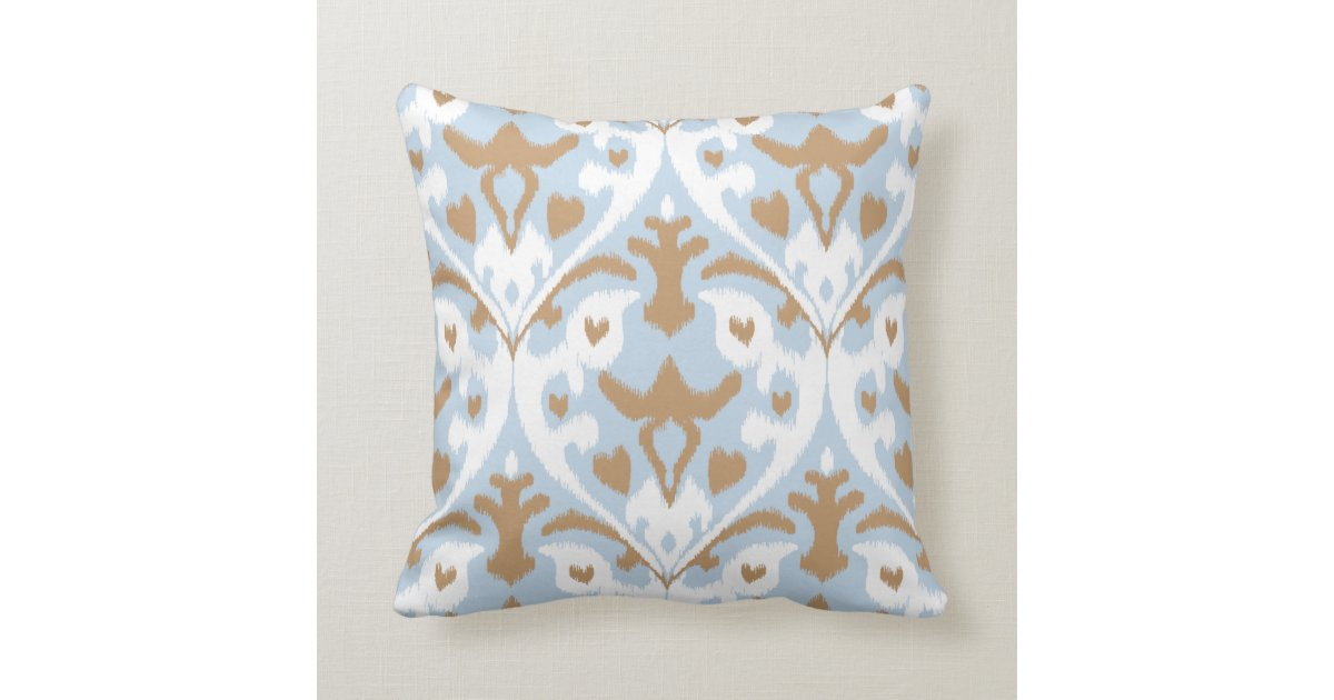 Modern Tribal Pillows : Modern light blue and white ikat tribal pattern throw pillow Zazzle