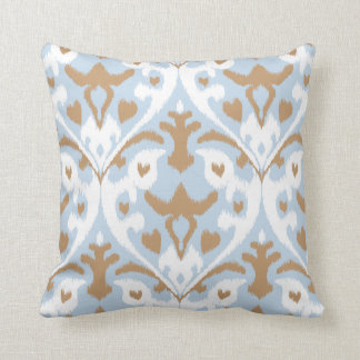 Modern light blue and white ikat tribal pattern throw pillow
