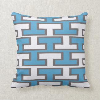 Modern Light Blue Bricks Throw Pillow