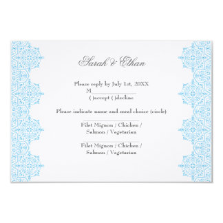 Modern Light blue Damask Wedding RSVP Cards