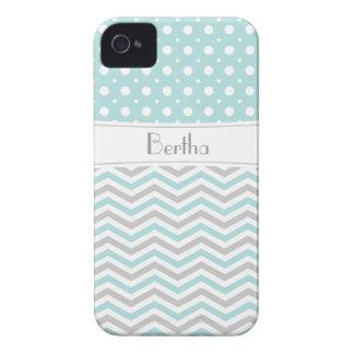 Modern light blue, grey, white chevron & polka dot iPhone 4 case