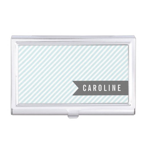 Modern light blue pinstripes personalized business card for Modern business card case