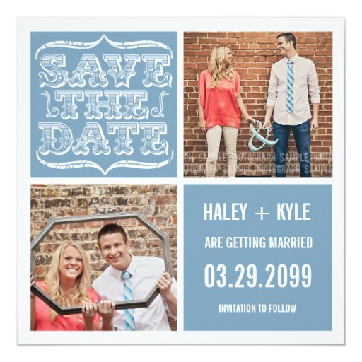 """Modern Light Blue Save the Date Square Photo Cards 5.25"""" Square Invitation Card"""