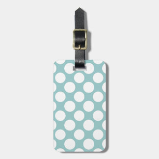 Modern Light Blue White Polka Dots Pattern Tag For Luggage