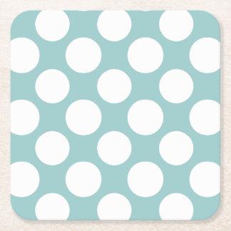 Modern Light Blue White Polka Dots Pattern Square Paper Coaster