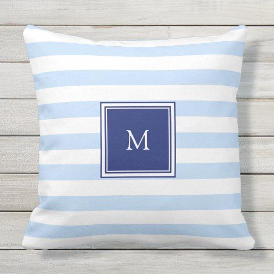 Modern Light Blue White Stripes Pattern Monogram Outdoor Pillow