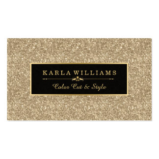 Modern Light Gold Glitter Texture Black Accent Business Card