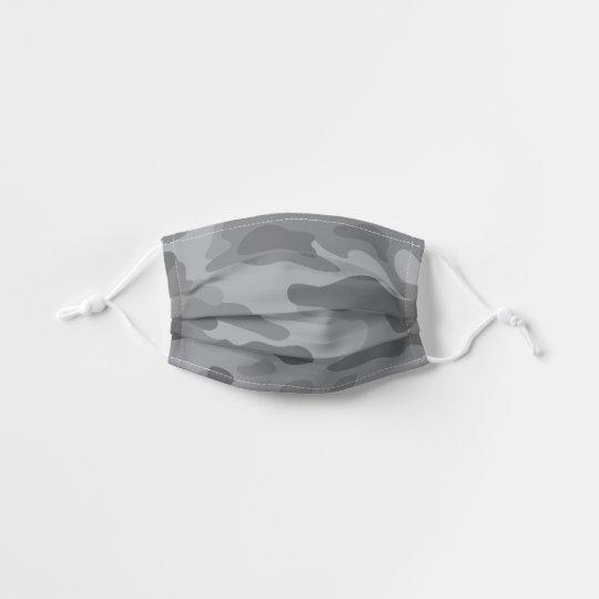 Modern Light Gray Camo Pattern Kids' Cloth Face Mask