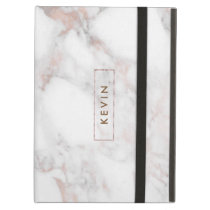 Modern Light Gray Faux Marble Monogram GR2 iPad Air Cover