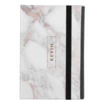 Modern Light Gray Faux Marble Monogram iPad Mini 4 Case