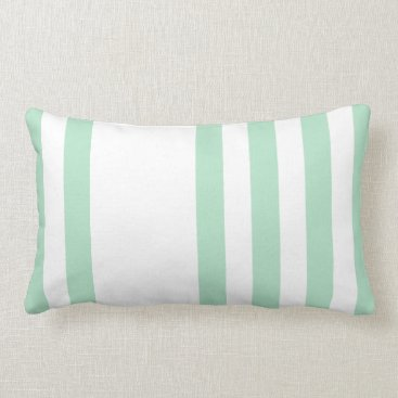 Beach Themed Modern light green white vertical stripes lumbar pillow