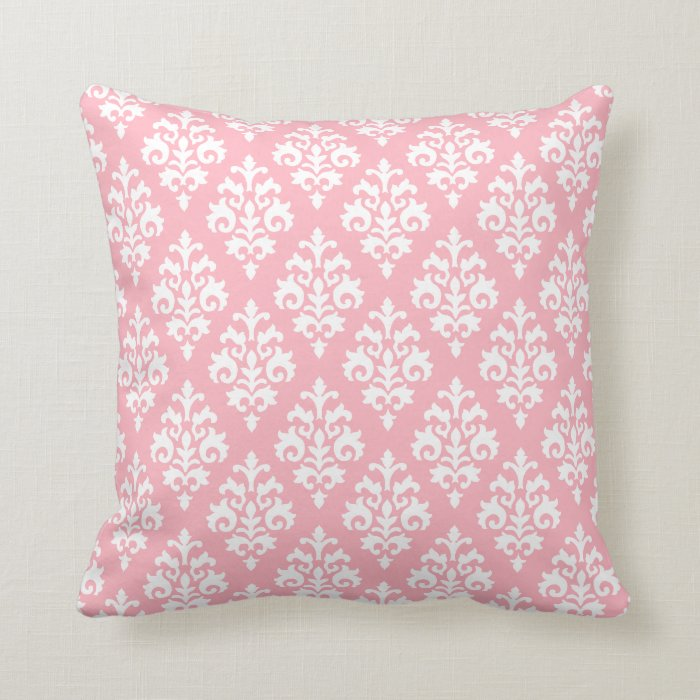 Modern Pink Pillow : Modern Light Pink and White Damask Throw Pillow Zazzle