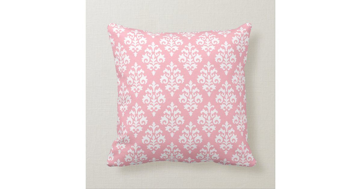 Modern Light Pink and White Damask Throw Pillow Zazzle