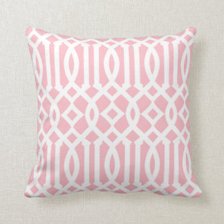 Modern Light Pink and White Imperial Trellis Pillows
