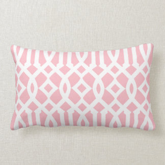Modern Light Pink and White Imperial Trellis Throw Pillows