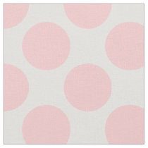 Modern Light Pink and White Large Polka Dots Fabric