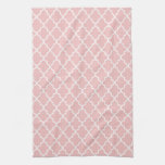 Modern Light Pink and White Moroccan Quatrefoil Hand Towels