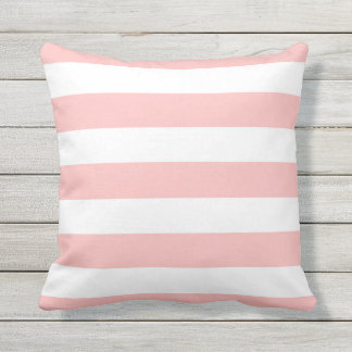 Modern Light Pink and White Stripes Throw Pillow