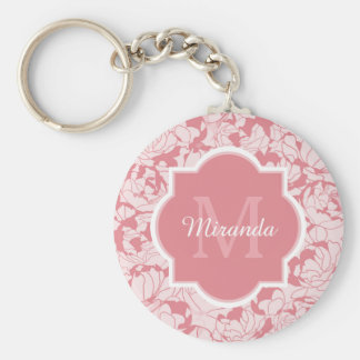 Modern Light Pink Floral Girly Monogram With Name Keychain