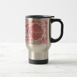 Modern Light Pink Floral Girly Monogram With Name 15 Oz Stainless Steel Travel Mug
