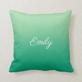 Modern Light to Dark Green Gradient Script Name Throw Pillow