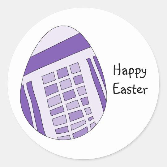 Modern lilac Easter egg design Classic Round Sticker