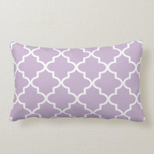Modern Lumbar Pillow : Modern Lilac Purple and White Moroccan Quatrefoil Lumbar Pillow Zazzle
