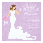 Modern Lilac Purple Bride Wine Bridal Shower Personalized Invites