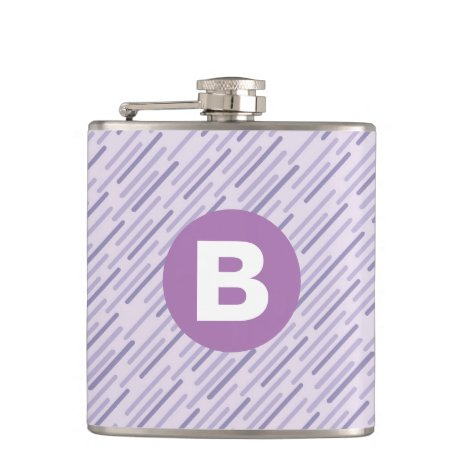 Modern Lilac Purple Diagonal Stripes Monogram Flask