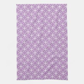 Modern Lilac Purple White Circle Diamond Pattern Kitchen Towel
