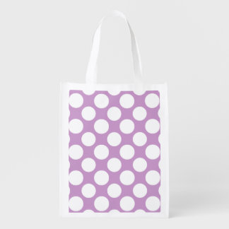 Modern Lilac White Polka Dots Pattern Reusable Grocery Bags