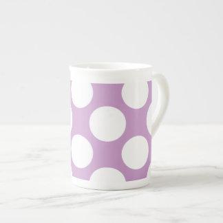 Modern Lilac White Polka Dots Pattern Tea Cup