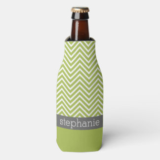 Modern Lime and Charcoal Chevron Pattern with Name Bottle Cooler