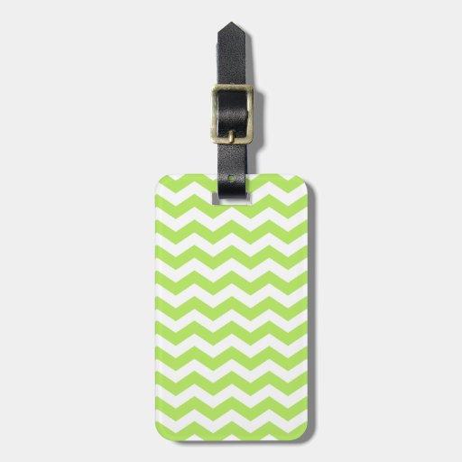 Modern Lime and White Chevron Stripes Luggage Tag