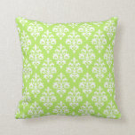 Modern Lime and White Damask Throw Pillow