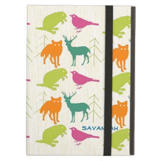 Modern Lime Aqua Woodland Animals Pattern iPad Air Cover