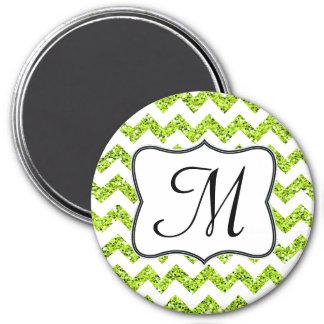 Modern Lime Glitte Chevron Monogram Initial Magnet