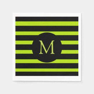 Modern Lime Green and Black Stripes Monogram Napkin