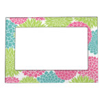 Modern Lime Green and Hot Pink Flowers Magnetic Picture Frame