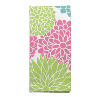 Modern Lime Green and Hot Pink Flowers Cloth Napkins