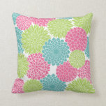 Modern Lime Green and Hot Pink Flowers Throw Pillow