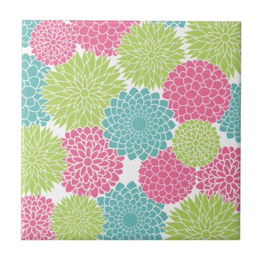 Modern Lime Green and Hot Pink Flowers Ceramic Tile