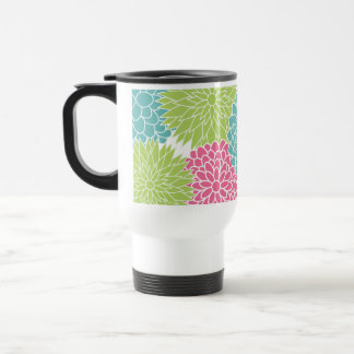 Modern Lime Green and Hot Pink Flowers Travel Mug